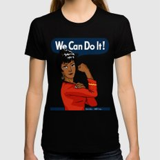 UHURA: WE CAN DO IT! LARGE Black Womens Fitted Tee
