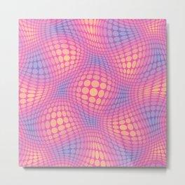 Circle Waves Pink Metal Print