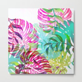 monstera leaves fesh spring colors Metal Print