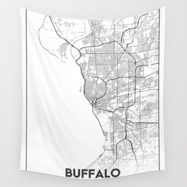 Minimal City Maps - Map Of Buffalo, New York, United States Wall Tapestry