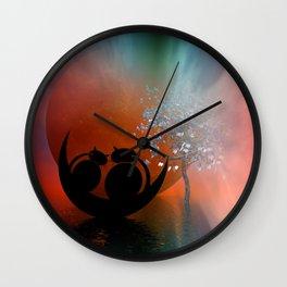 mooncats in love Wall Clock