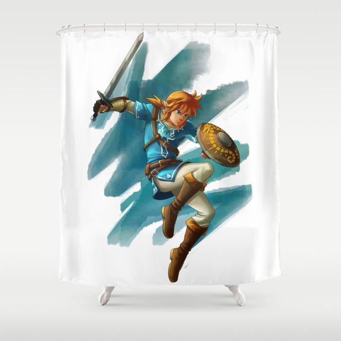 Link The Legend Of Zelda Breath Wild Shower Curtain