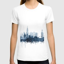 Chicago Skyline Navy Blue Watercolor by Zouzounio Art T-shirt