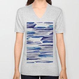 Shibori Paint Vivid Indigo Blue and White Unisex V-Neck