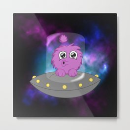 Flying Saucer Alien Metal Print