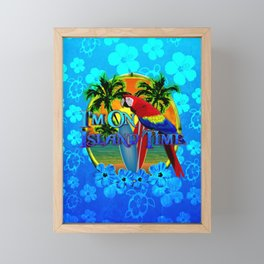 Island Time Surfing Blue Tropical Flowers Framed Mini Art Print