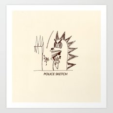 Aberdeen - dinosaur police sketch Art Print