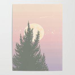 Evening Moonrise Poster