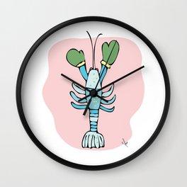 Blue Maine Lobster on Beach  Wall Clock