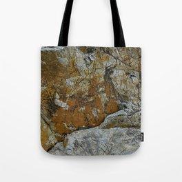 Cornish Headland Cracked Rock Texture with Lichen Tote Bag