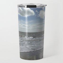 Sandbanks Beach with Waves and Blue Skies Travel Mug