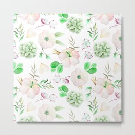 Modern blush pink white green watercolor floral pattern Metal Print
