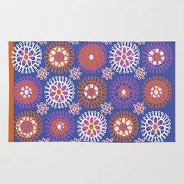 Flower Doodles Cobalt Blue, circles and flowers design Rug