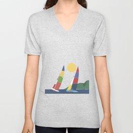 Sails below the coast Unisex V-Neck