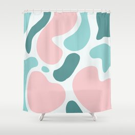Retro Mint Green and Pink Blobs Over Pale Grey - Abstract Shapes - Funky Art - Matisse Shower Curtain
