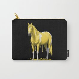 Lemon Yellow Dripping Wet Paint Horse Carry-All Pouch