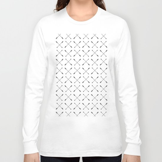 Crossed Arrows Pattern - Black and white Long Sleeve T-shirt