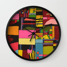 Colors in Collision 2 - Geometric Abstract in Blue Yellow Pink and Green Wall Clock