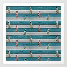 Meercat Beach Stripes Art Print