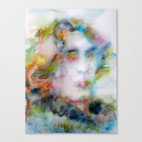 oscar wilde Canvas Prints featuring OSCAR WILDE - watercolor portrait by LAUTIR