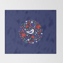 Holiday Bird & Poinsettias Throw Blanket
