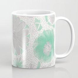 Mint & Silver Flowers Coffee Mug