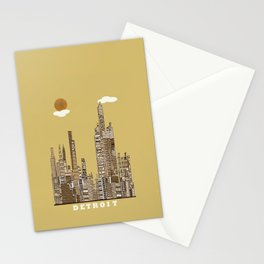 Detroit skyline vintage  Stationery Cards