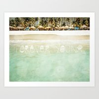 forever young Art Prints featuring Forever Young by Jenndalyn