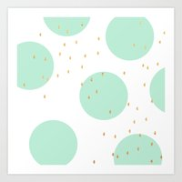 gold dots Art Prints featuring Mint and gold dots by Allyson Johnson