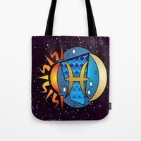 astrology Tote Bags featuring Astrology, fish by Karl-Heinz Lüpke
