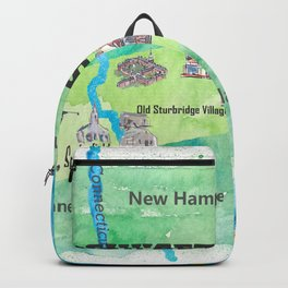 USA Massachusetts State Travel Poster Map with Touristic Highlights Backpack