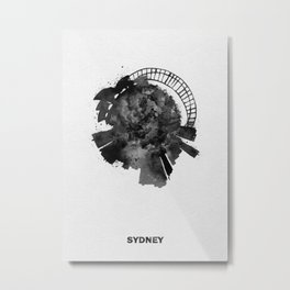 Sydney, Australia Black and White Skyround / Skyline Watercolor Painting Metal Print