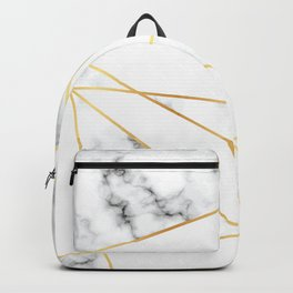Stone Effects White and Gray Marble with Gold Accents Backpack