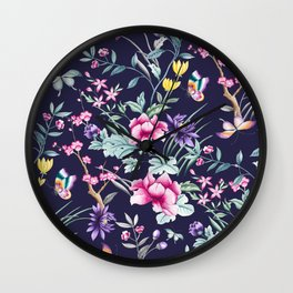 Navy Blue Chinoiserie Asian Floral Print Wall Clock