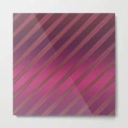 Slant red crimson stripes on a crimson satin background . Metal Print