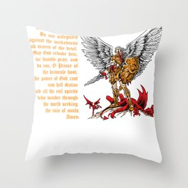 Saint Michael shirt for men prayer catholic church Throw Pillow