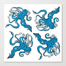 Sea-life Collection - Octopus - Ocean-Blue Canvas Print