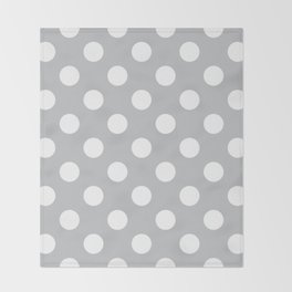 Silver sand - grey - White Polka Dots - Pois Pattern Throw Blanket