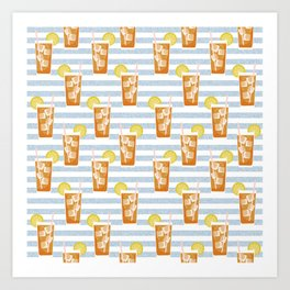 ice sweet tea summer southern stripes food fight apparel and gifts Art Print