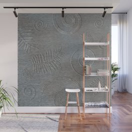 Graphic Grey Leaf and Spiral Shell Fossil Shapes Wall Mural