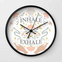 Breathe, inhale exhale yogi zen master poster white Wall Clock