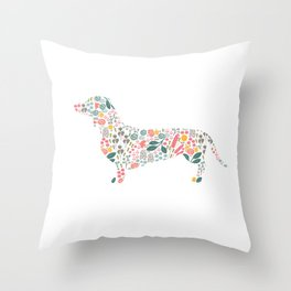 Dachshund Floral Watercolor Art Throw Pillow