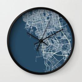 Jeddah Blueprint Street Map, Jeddah Colour Map Prints Wall Clock