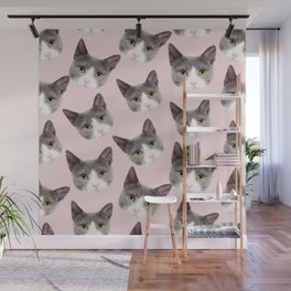 girly cute pink pattern snowshoe cat Wall Mural