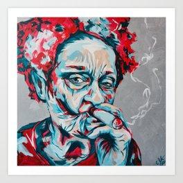 Smoking Frieda K by carographic, Carolyn Mielke Art Print