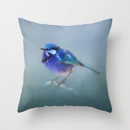 Blue Fairy Wren Throw Pillow