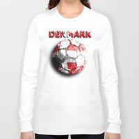 denmark Long Sleeve T-shirts featuring Old football (Denmark) by seb mcnulty
