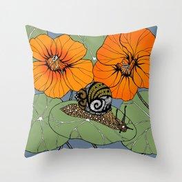 Snail on Nasturtiums Throw Pillow