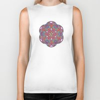 sacred geometry Biker Tanks featuring Sacred Geometry Kaleidoscope Mandala  by Jam.