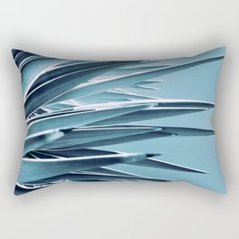 Palm Rays - Duotone Black and Teal Rectangular Pillow